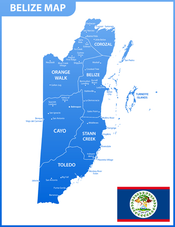The detailed map of Belize with regions or states and cities, capital. Administrative division. Vetores