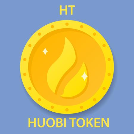 Huobi Token Coin cryptocurrency blockchain icon. Virtual electronic, internet money or cryptocoin symbol, logo Logó