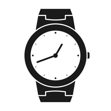 Icon of wrist watch. Symbol of hand clock. Illustration of timepiece, chronometer Illustration