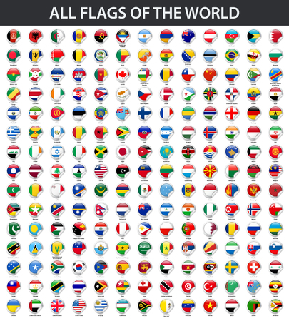 All flags of the world in alphabetical order. Round glossy sticker style Ilustração