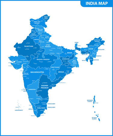 The detailed map of the India with regions or states and cities, capital. Administrative division. Illustration
