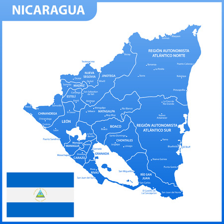 The detailed map of Nicaragua with regions or states and cities, capital. Administrative division. Vetores
