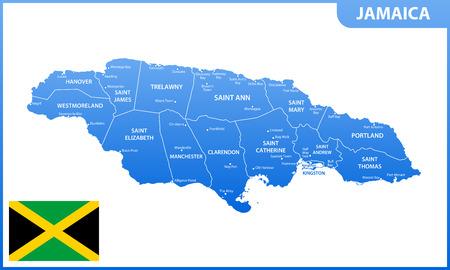 Die detaillierte Karte von Jamaika mit Regionen oder Staaten und Städten, Hauptstadt. Administrative Aufteilung.