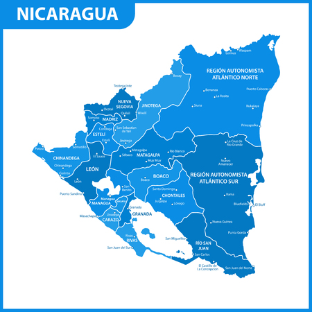 The detailed map of Nicaragua with regions or states and cities, capital. Administrative division.