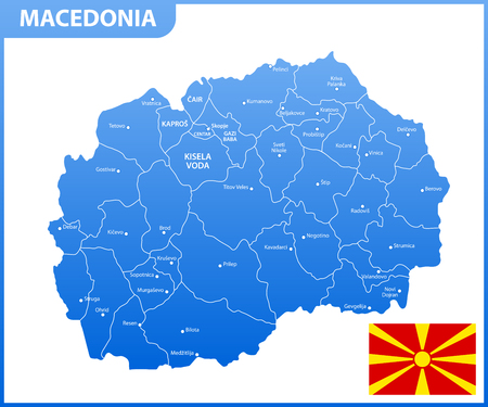 The detailed map of Macedonia with regions or states and cities, capital. Administrative division. Illustration