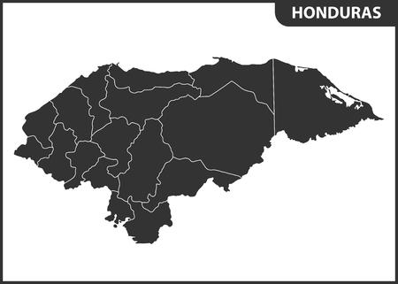 La mappa dettagliata dell'Honduras con le regioni. Divisione amministrativa. Vettoriali
