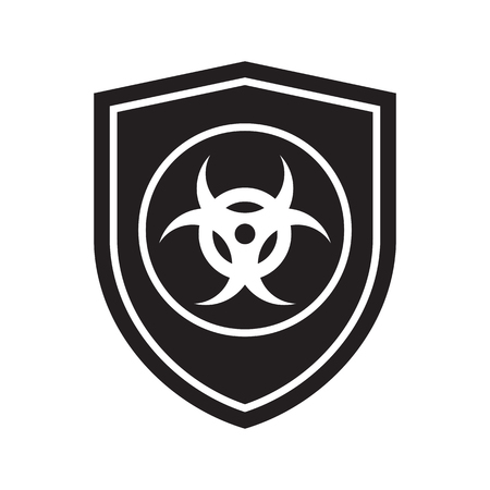 Icon of Biohazard shield. Defense, protection or safety symbol, sign Vectores