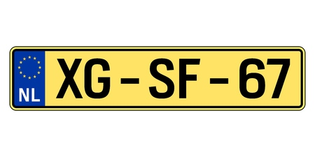 Netherlands car plate. Vehicle registration number Ilustração