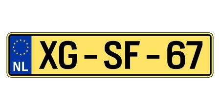 Netherlands car plate. Vehicle registration number Illustration