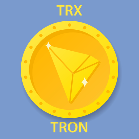 Tron cryptocurrency blockchain icon  Virtual electronic, internet