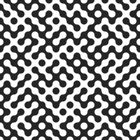 Seamless fractal halftone circles pattern. Truchet curved tiled background. Geometric irregular backdrop Ilustração
