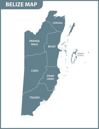 El mapa detallado de Belice con regiones o estados. División administrativa.