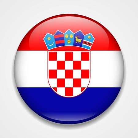 Flag of Croatia. Round glossy badge