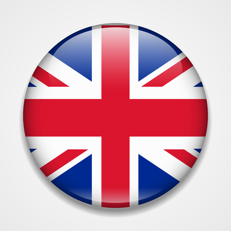 Great Britain, United Kingdom, England flag. Round glossy badge Illustration