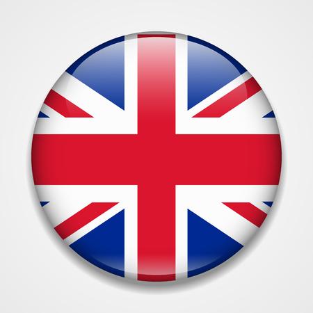 Great Britain, United Kingdom, England flag. Round glossy badge Illustration