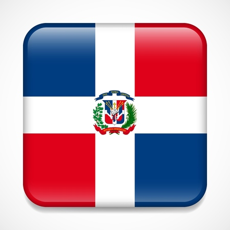 Flag of Dominican Republic. Square glossy badge