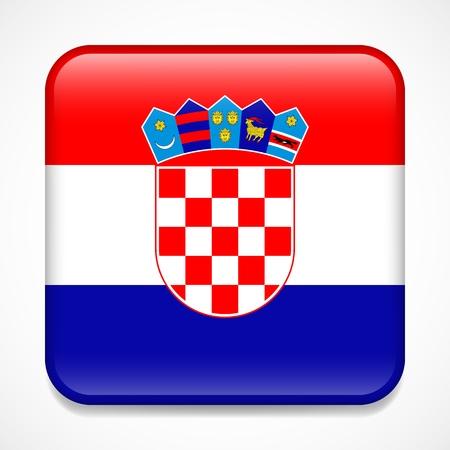 Flag of Croatia. Square glossy badge Illustration