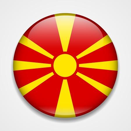 Flag of Macedonia. Round glossy badge