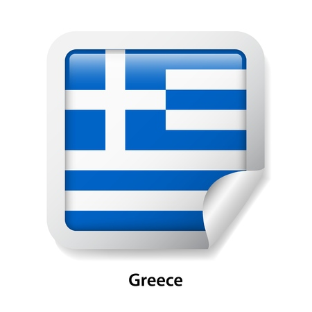 Flag of Greece. Round glossy sticker