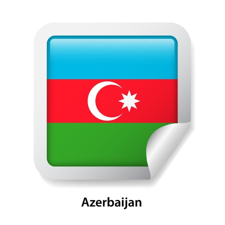 Flag of Azerbaijan. Round glossy sticker