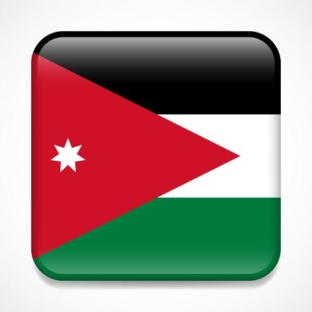 Flag of Jordan. Square glossy badge