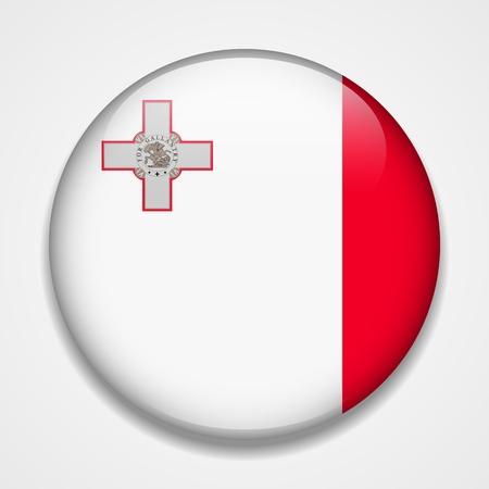 Flag of Malta. Round glossy badge