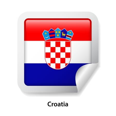Flag of Croatia. Round glossy sticker