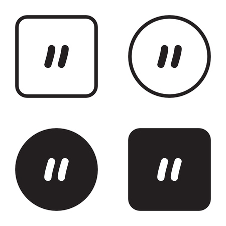 Quote symbol icon set. Quotation paragraph mark. Sign of double comma Illustration