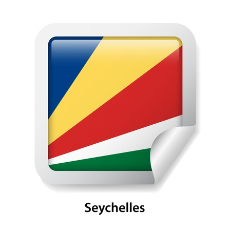 Flag of Seychelles. Round glossy badge sticker