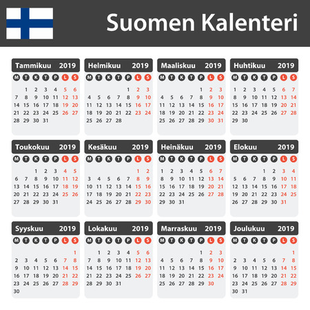 Finnish Calendar for 2019. Scheduler, agenda or diary template. Week starts on Monday