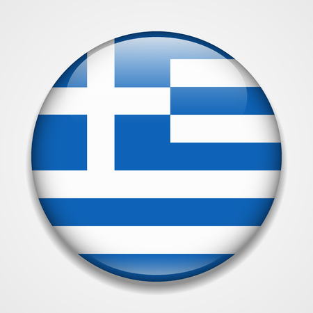 Flag of Greece. Round glossy badge