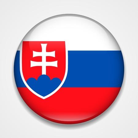 Flag of Slovakia. Round glossy badge Векторная Иллюстрация
