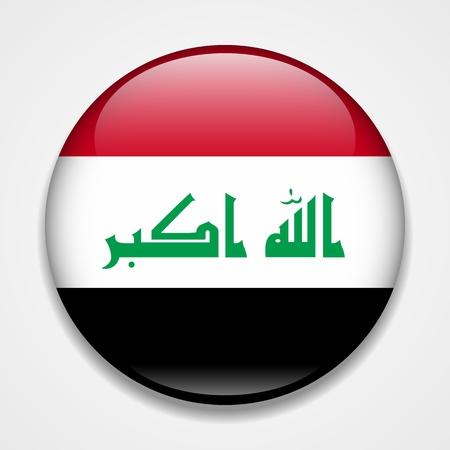 Flag of Iraq. Round glossy badge