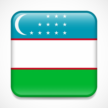 Flag of Uzbekistan. Square glossy badge
