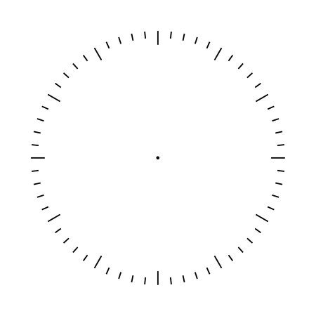 Clock face blank template. Hours and seconds division marks