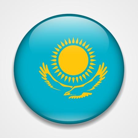 Flag of Kazakhstan. Round glossy badge