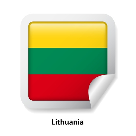 Flag of Lithuania. Round glossy sticker