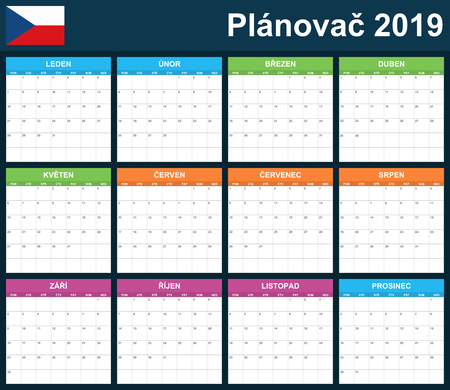 Czech Planner blank for 2019. Scheduler, agenda or diary template. Week starts on Monday