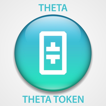Theta Token Coin cryptocurrency blockchain icon. Virtual electronic, internet money or cryptocoin symbol, logo Ilustração