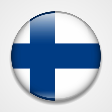 Flag of Finland. Round glossy badge
