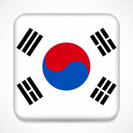Flag of South Korea. Square glossy badge