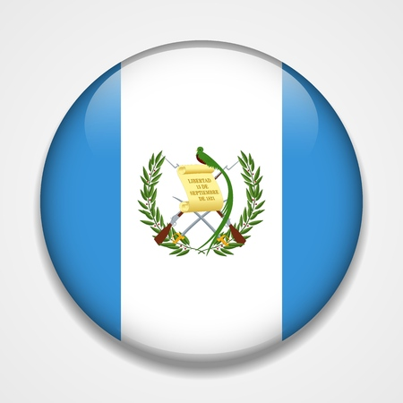 Flag of Guatemala. Round glossy badge