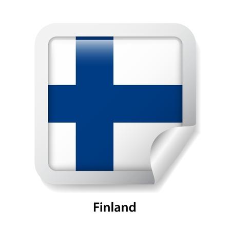 Flag of Finland. Round glossy sticker