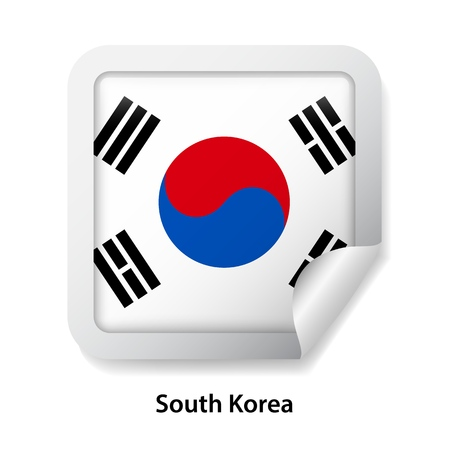 Flag of South Korea. Round glossy badge sticker