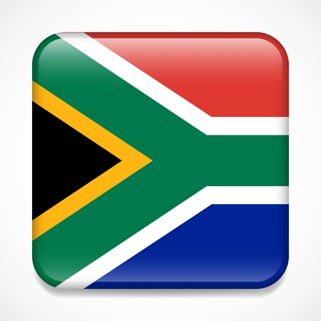 Flag of South Africa. Square glossy badge