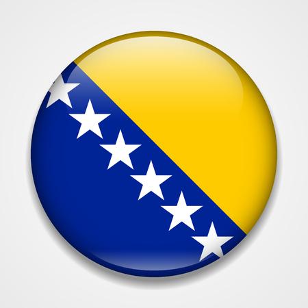 Flag of Bosnia and Herzegovina. Round glossy badge