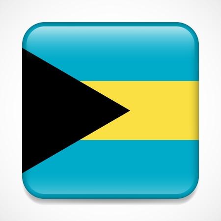Flag of Bahamas. Square glossy badge