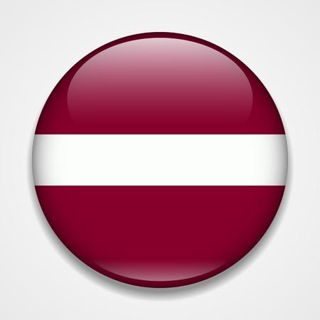 Bandera de Letonia. Insignia brillante redonda