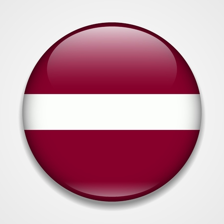Flag of Latvia. Round glossy badge