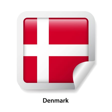 Flag of Denmark. Round glossy sticker